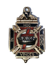 Masonic Knights Templar In Hoc Signo Vinces 14k Solid Gold Pendant Opens 2 Sides