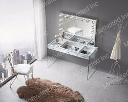 Black Makeup Vanity Table Set. Mirror, Table, And Chair.