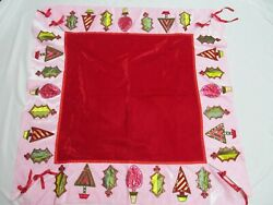 Wayne M Kleski Christmas Table Overlay Red And Pink Velour Htf Sequin Tree Holly