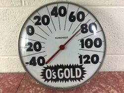 Vintage O's Gold Seed Advertising Thermometer Sign Glass Face Ohio 12 Inch
