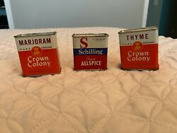 3 Vintage Metal Spice Tins Crown Colony Thyme And Marjoram, Schilling Allspice