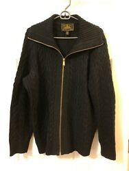 Navy Cotton Sweater Full Zip All Over Cable Shawl Collar 2x