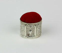 Vintage Reo Sterling Silver And Red Velvet Pincushion Repousse Leaf Designs