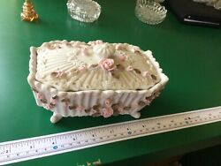 vintage porcelain box with roses