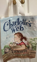"""Barnes And Noble Vintage Plastic """"charlotte's Web"""" Book Cover Shopping Bag. 16 In"""
