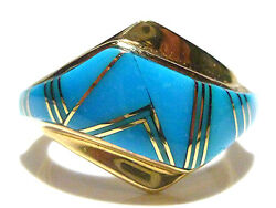Heavy Southwestern Persian Turquoise 14k Yellow Gold Womens Ring Band Size 7.25