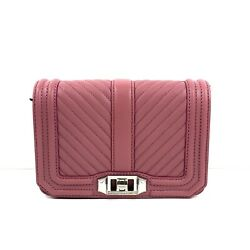 Rebecca Minkoff Chevron Pink Quilted Small Love Crossbody Purse Fig Nwt 198
