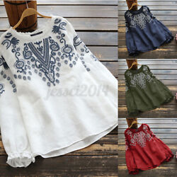 Women Embroidered Shirts Long Sleeve Round Neck Ruffles Ethnic Tops Shirt Tee US