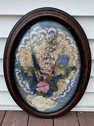 Antique Victorian Beauty Bubble Glass Frame Oval Original Flowers Display