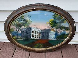 Antique Victorian Beauty Bubble Glass Frame Oval Original Reverse Painting