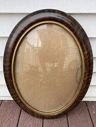 Antique Victorian Beauty Bubble Glass Frame Oval Original Tiger
