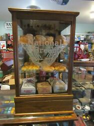 Antique Original 1800and039s National Bread Glass Display Case With Eagle Look