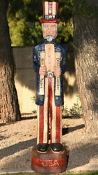 6and039 Uncle Sam Patriotic Wooden Sculpture 6 Ft Gallagher Cigar Store Indian Style
