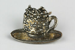 Vintage Sterling Silver Teacup Of Cherries Brooch, Possibly Mary Engelbreit