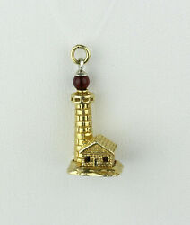 Vintage 14k Yellow Gold And Red Glass Bead Lighthouse Charm Pendant