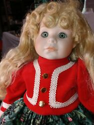 Carol Anne Dolls By Goebel Porcelain Christmas Musical Doll 18 Holiday Stocking