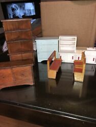 Vintage Wooden Dolhouse Furniture Cabinet, Dressers, Chairs And Sink Lot