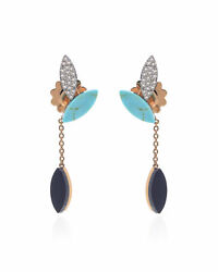 Roberto Coin Petals 18k Rose Gold Diamond 0.29ct Turquoise Earrings 8882540aherb