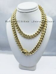 Real 14k Gold 10mm 28 Miami Cuban Link Chain Men's Necklace 14kt Yellow Gold