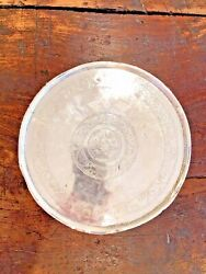 Antique Persian Qajar Solid Sterling Silver Arabic Calligraphy Tray Salver Dish