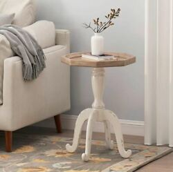 Rustic Country Side Accent Table White Farmhouse French Antique Style Pedestal