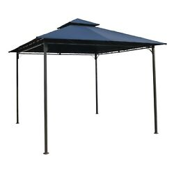 Fast Furnishings 10ft X 10ft Garden Gazebo With Iron Frame And Navy Blue Canopy
