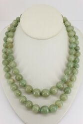 Genuine Jade Graduated Double Row Bead 1930and039s Silver Clasp Necklace. Nice1