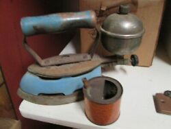 Antique Blue Gas Iron Plus It Has The Coleman Fuel Can With It