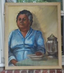 Vintage Black Woman In Blue Bowl And Percolator Coffee Pot Oil Painting C1940s