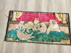 """Vintage tapestry rug kitty cats playing 39"""" X 19"""""""