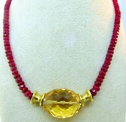 Vintage Robert Lee Morris 18k Yellow Gold Red Spinel And Golden Topaz Necklace