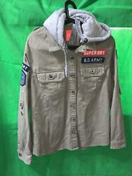 Superdry Green Button Up Classic Utility Military Jacket Shirt Sd Army Sz Xl