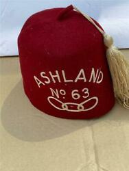 Vintage Shriners Fez Hat No 63 Ashland Wisconsin By Ward Stilson Co Anderson In