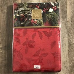Lenox Holiday Holly Damask Red 60x104 Oblong Tablecloth Christmas Nip Nos