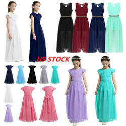 Us Kids Girls Pleated Evening Party Maxi Ball Gowns Pageant Wedding Long Dress