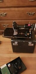 Singer Featherweight 221-1 Antique Sewing Machine Scroll Face, Working C. 1938