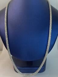 10k Italy Solid Gold Menandrsquos 26andrdquo In Round Franco Diamond Cut Chain 3.9mm 32.9 Gram