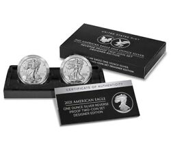 American Eagle 2021 One Ounce Silver Reverse Proof Two-coin Set Designer In Hand