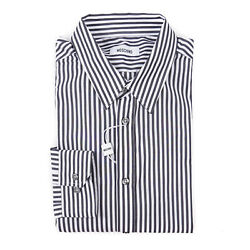 Moschino Charcoal-white Bengal Stripe Dress Shirt With Heart Embroidery 15.75
