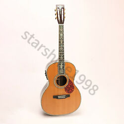 Electric Acoustic Guitar Solid Red Spruce Bone Nutandsaddles Abalone Inlay