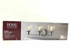 Home Decorators Collection Evelyn 3 Light Brushed Nickel Vanity Light New