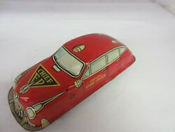 Vintage Marx Wind Up Fire Chief Friction Car Tin Toy Nice Condition  313-d