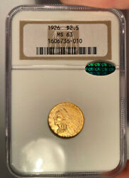 1926 2.50 Ngc Ms 63 Cac Indian Head Gold Quarter Eagle