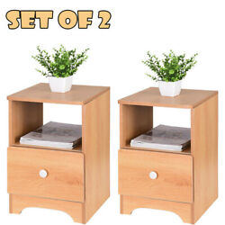 Set Of 2 End Bedside Table Wood Nightstand With Storage Drawer Bedside End Table