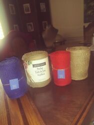 Lot Of 4 Rolls Of Burlap 27 Yards Total - Red Blue And Natural Colors