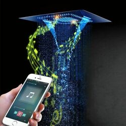 Phone Remote Controlled Shower Head Music Led Lights Rainfall Mist For Bathroom