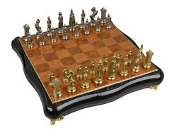 Chess Charles Iv Whole Board Rubber Wood Figurines Zinc Alloy Zamak With Silv...