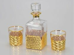 Whiskey Set Crystal Carafe One 750ml Glass Of 300ml 2pcs Russian Souvenir Win...