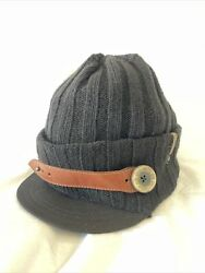 New Diesel Vintage Lidon Black Brimmed Beanie One Size Made In Italy
