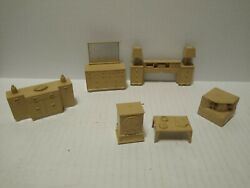 Vintage 1960s Marx Dollhouse Furniture Lot Dressers And Night Stands And Tv And More